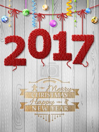 New Year 2017 knitted fabric as christmas decoration
