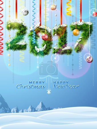 New Year 2017 of twigs like christmas decoration