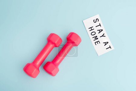 top view of dumbbells near paper with stay at home lettering on blue