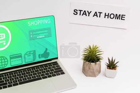 Photo pour Laptop with online shopping website on screen near plants and paper with stay at home lettering on white - image libre de droit