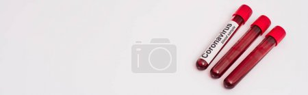 Photo for Horizontal crop of test tubes with coronavirus blood samples on white background - Royalty Free Image