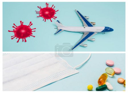 Photo for Collage of toy with decorative coronavirus molecules and medical mask with pills on blue - Royalty Free Image