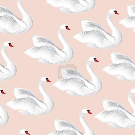 White birds  seamless pattern