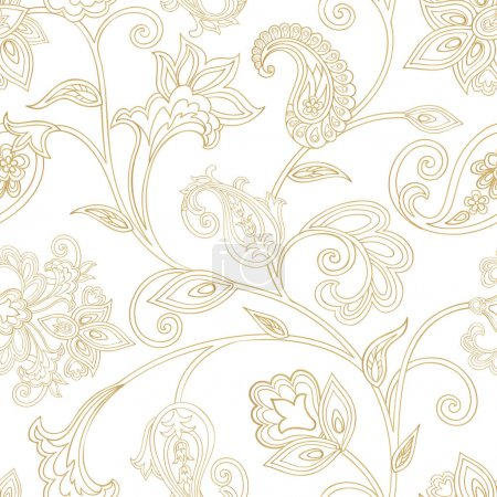 Photo pour Motif floral. Arrière-plan transparent arabesque orientale. Ornement en mosaïque avec des fleurs de fantastique pays des merveilles en style arabe de Damas. - image libre de droit