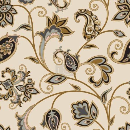 Illustration for Floral seamless oriental pattern with flowers and paisley on beige background - Royalty Free Image