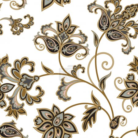 Illustration for Floral seamless oriental pattern with flowers and paisley on white background - Royalty Free Image