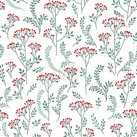 Illustration for Floral pattern with leaves and flowers on white background - Royalty Free Image