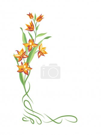 Illustration for Flower frame. Swirl vignette border decor. Floral bouquet summer decorative element for greeting card design. Nature  background - Royalty Free Image