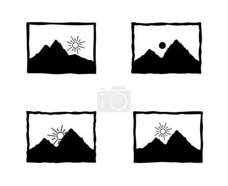 Ilustración de Foto shoot set de iconos retro. Imagen con estilo web signos ilustración de Doodle. - Imagen libre de derechos