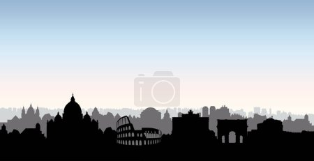 Rome city buildings silhouette