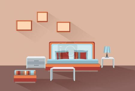 Home room interior. Bedroom furniture with bed...