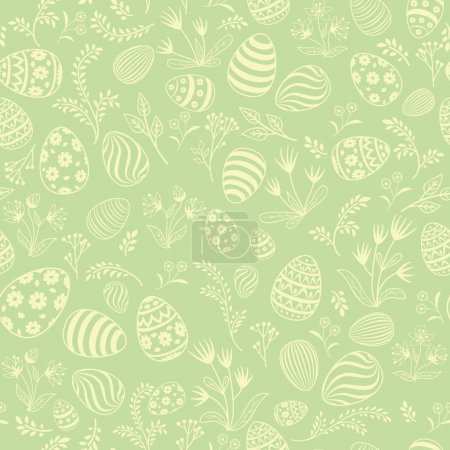 Illustration for Easter eggs seamless pattern. Spring holiday background for printing on fabric, paper for scrapbooking, gift wrap and wallpapers. - Royalty Free Image
