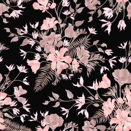 Floral ornamental black pattern