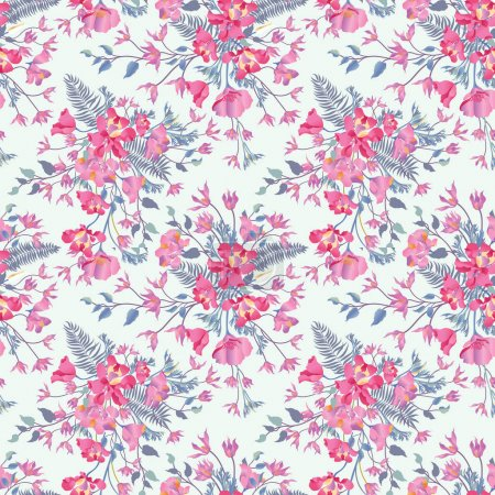 Illustration for Floral ornamental seamless pattern. Flower garden background. Flourish garden texture - Royalty Free Image