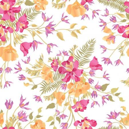 Illustration for Floral ornamental seamless pattern on white background. Flower garden background. Spring garden texture, vector illustration - Royalty Free Image