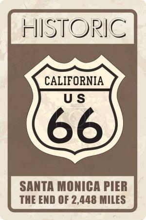 Illustration for Retro route 66 sign, vector illustration - Royalty Free Image