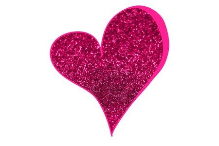Photo pour Coeur composé de paillettes roses isolées sur fond blanc . - image libre de droit