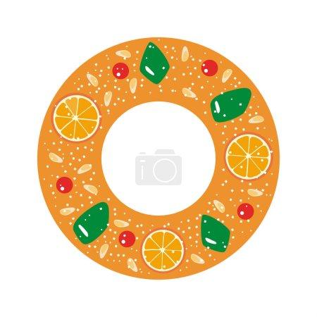 Illustration pour Roscon de Reyes (gâteau du roi). Pâtisserie traditionnelle espagnole de l'Epiphanie. Illustration vectorielle . - image libre de droit