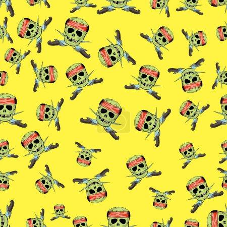Skull Cross Sharp Dagger Seamless Pattern Isolated...