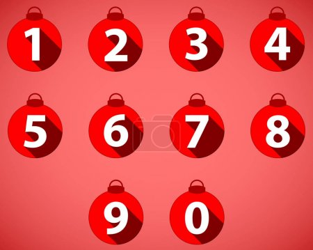 The numbering in the style of Christmas balls