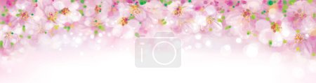 Illustration for Vector blossoming sakura tree, pink bokeh banner. - Royalty Free Image