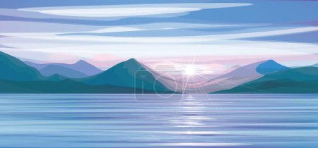 Illustration for Vector   sea scene sunset,   mountains  background. - Royalty Free Image