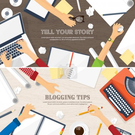 Vector illustration. Flat typewriter.Laptop. Tell your story. Author. Blogging.