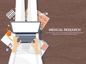 Medizinische flachen Hintergrund. Gesundheitspflege, erste Hilfe, Forschung, Kardiologie. Medizin, Studie. Chemieingenieurwesen, Pharmazie