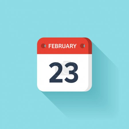 February 23. Isometric Calendar Icon With Shadow.Vector Illustration,Flat Style.Month and Date.Sunday,Monday,Tuesday,Wednesday,Thursday,Friday,Saturday.Week,Weekend,Red Letter Day. Holidays 2017.