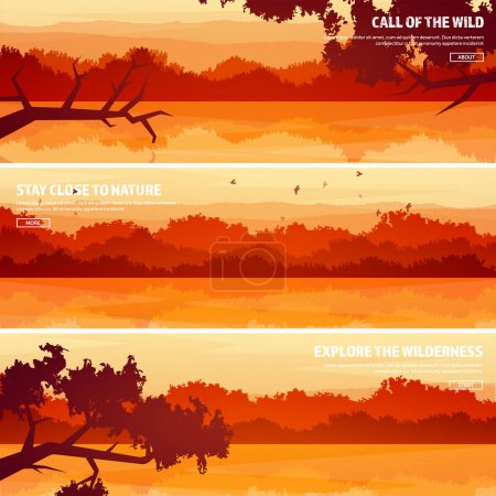 Illustration for Mountains with forest and lake, river. Trees. Horizon line. Vector landscape.Panorama. Travel and adventure.Nature.Wood. Wildlife. Pine tree. - Royalty Free Image