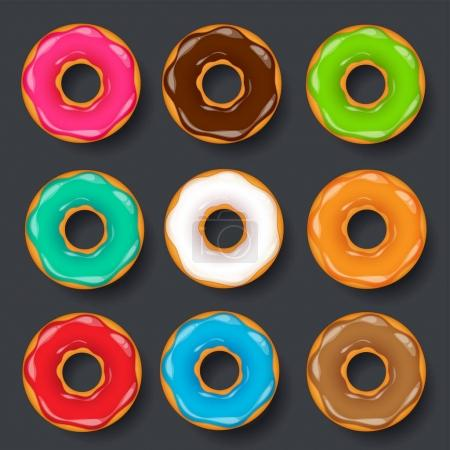 Donut, begel with cream. Cookies,cookie cake set. Sweet dessert. with sugar,caramel. Tasty breakfast. Cooking. Cafateria food, snack. Coffee shop.Vector illustration.