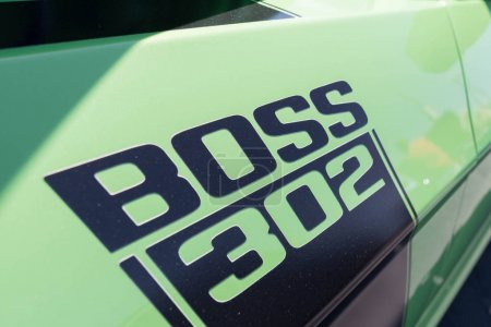 Ford Mustang Boss 302 emblem fifth generation on display