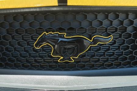 Ford Mustang sixth generation emblem on display