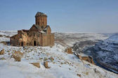 Tigran Honents church  in Ani among snowy nature
