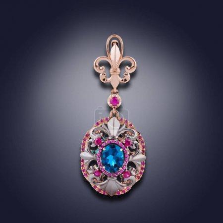 Photo pour Boucle d'oreille de pierres précieuses de couleurs bleus et violets pour les femmes - image libre de droit