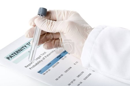 Paternity test result form with doctor holding buccal swab in te