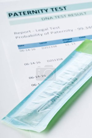 Paternity test result form with buccal swab