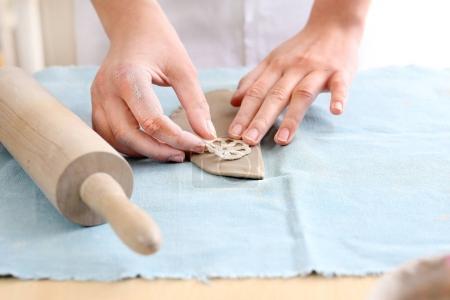 Art workshop, molding clay.