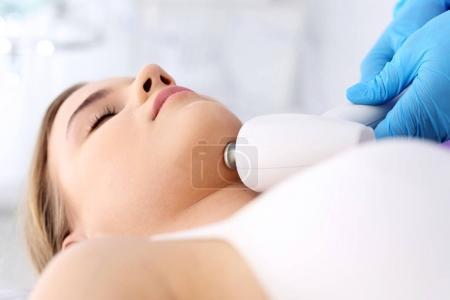 Ultrasound, a woman in the beauty salon