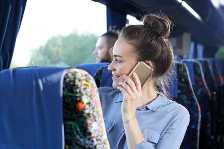 Coach trip.Passenger in the coach.