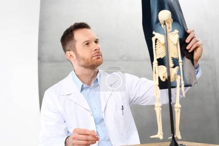 Orthopaedist. A doctor in a doctor's office is watching an x-ray of a patient.
