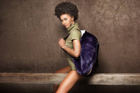 Photo for Fashionable attractive african american woman with afro hairstyle posing. - Royalty Free Image
