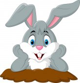 Cartoon rabbit come out of the hole
