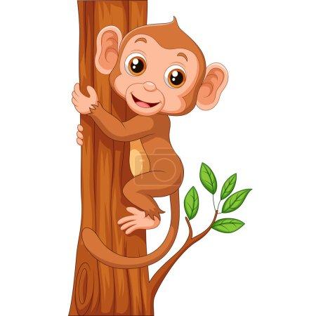 Cute monkey holding tree