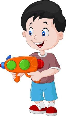 Illustration pour Illustration vectorielle de petit bot jouant avec Water Gun - image libre de droit