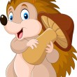 Vector illustration of Cute baby hedgehog holding ...