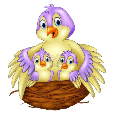 Illustration for Vector illustration of Mother bird with her two babies in the nest - Royalty Free Image