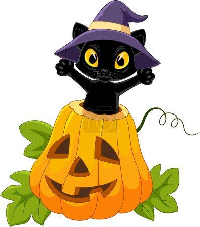 Cute black cat with Halloween pumpkin
