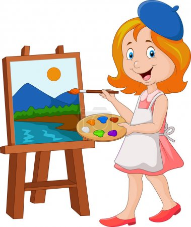 Illustration for Vector illustration of Little girl painting on a canvas - Royalty Free Image