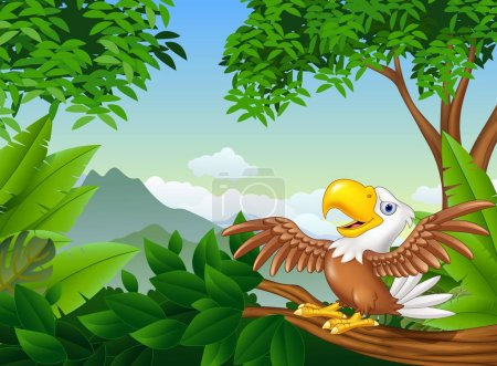 Cartoon bald eagle on a tree branch